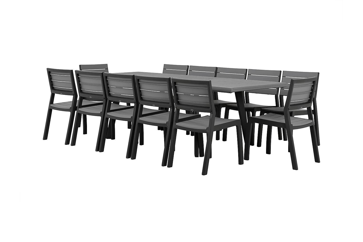 BILBAO Pöytä 162 + 12 Tuolia Harmaa/Musta