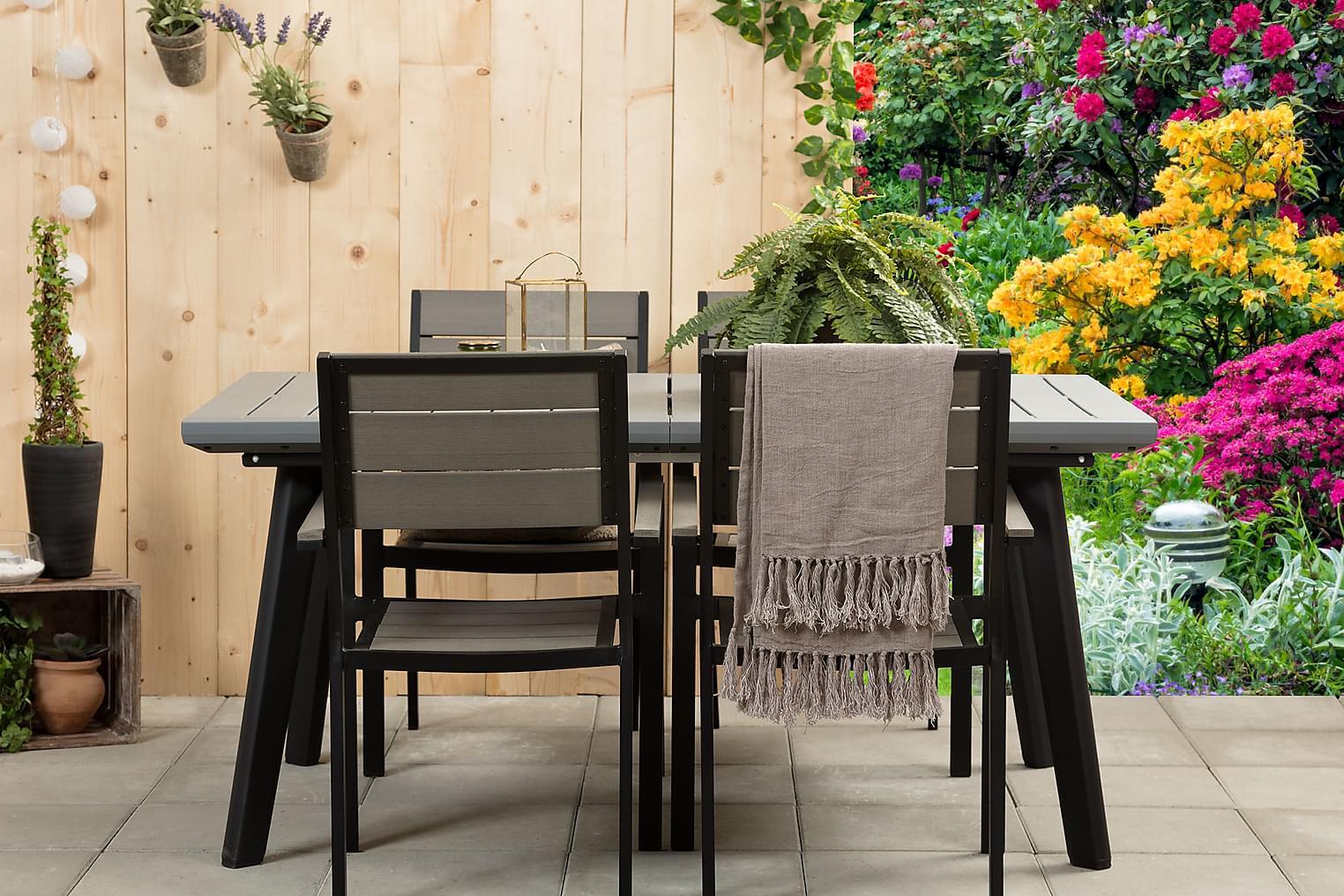 BILBAO Pöytä 162 + 4 LAPAZ Pinottavaa tuolia Musta/Harmaa