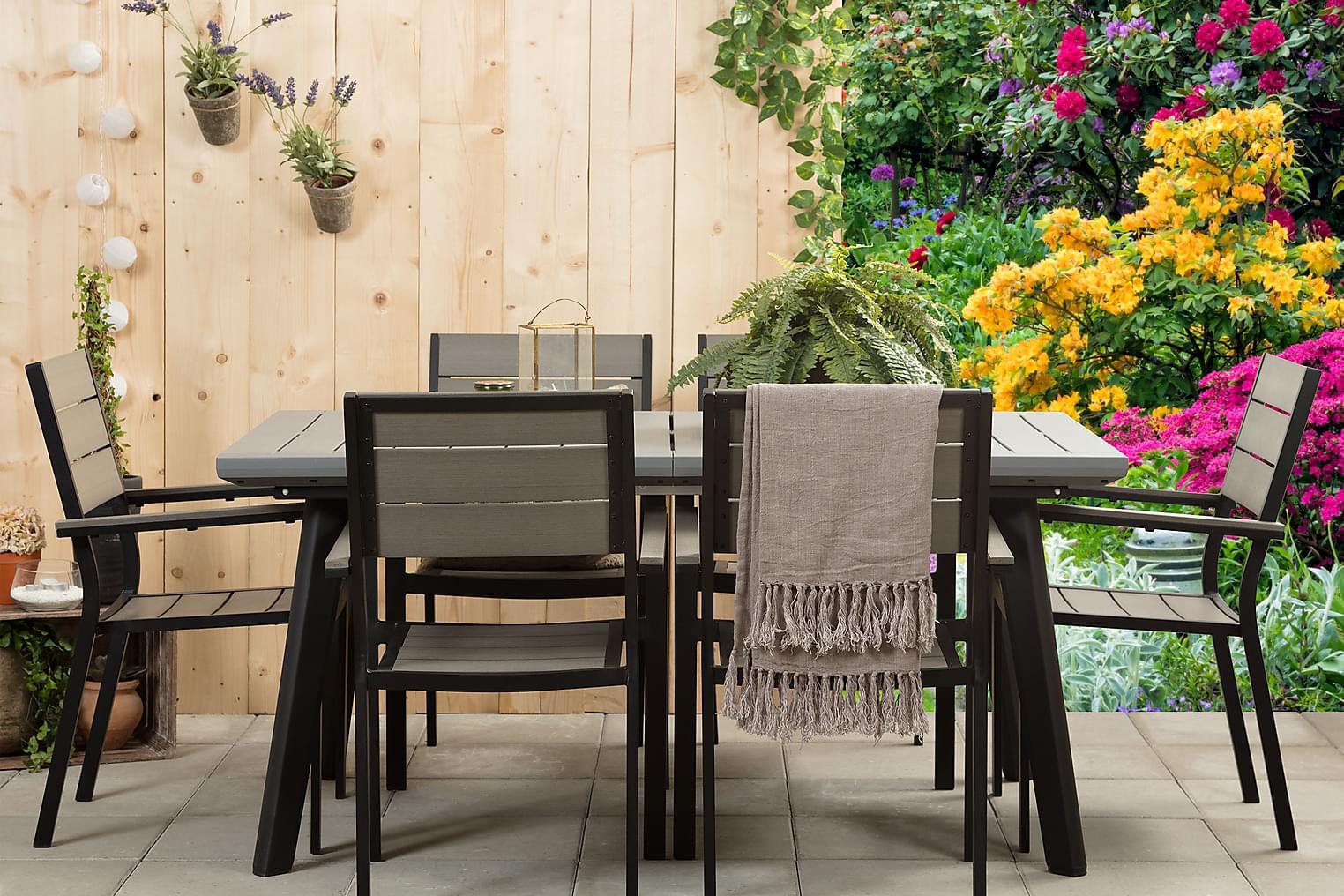 BILBAO Pöytä 162 + 6 LAPAZ Pinottavaa tuolia Musta/Harmaa