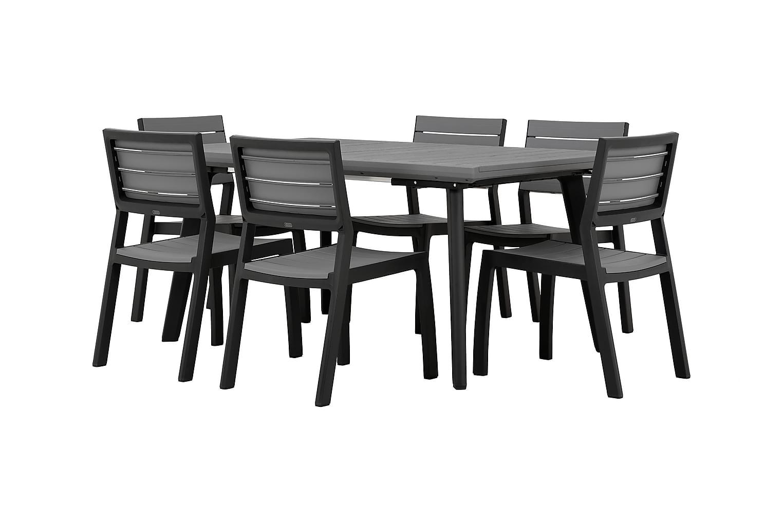 BILBAO Pöytä 162 + 6 Tuolia Harmaa/Musta