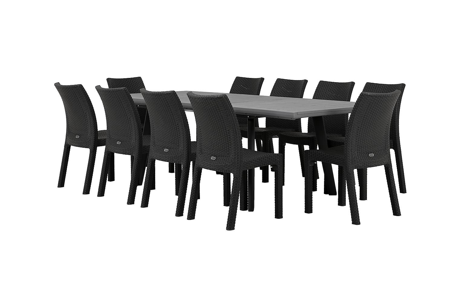 BILBAO Pöytä 162 Harmaa/Musta + 10 DREW Tuolia Musta
