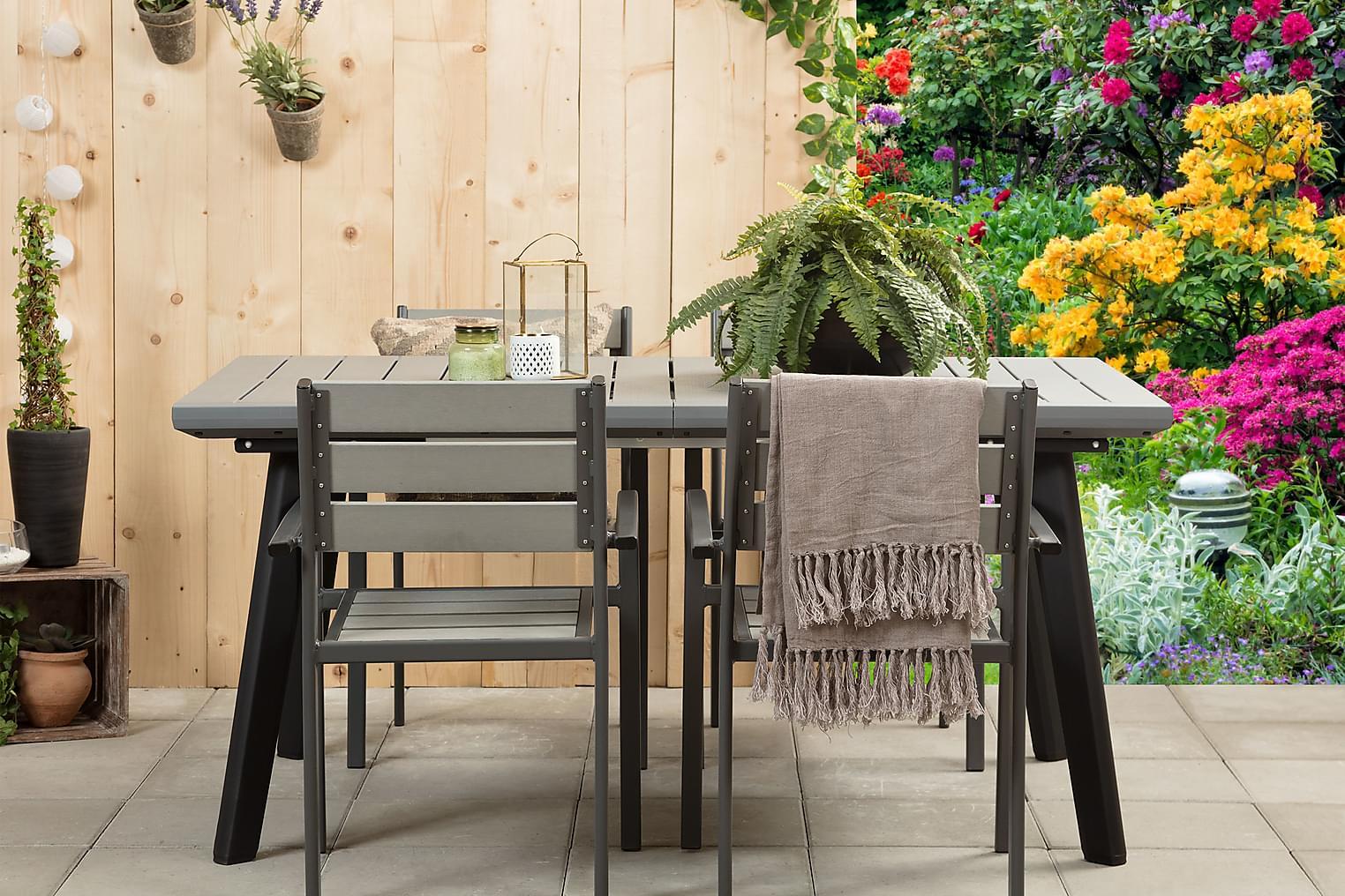 BILBAO Pöytä 162 Harmaa/Musta + 4 ARRIETA Pinottavaa tuolia