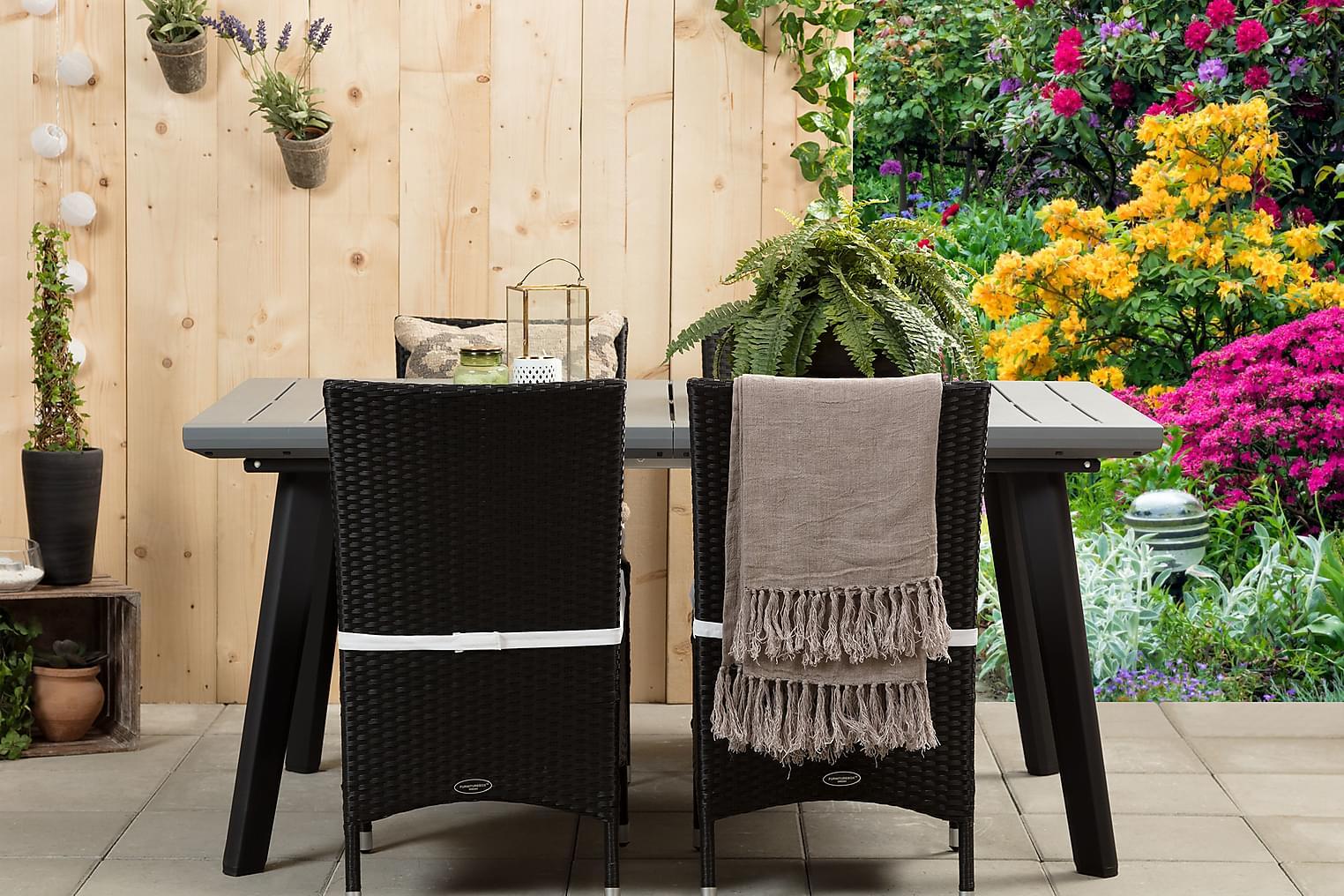 BILBAO Pöytä 162 Harmaa/Musta + 4 ARUBA Tuolia Musta/Valkoin