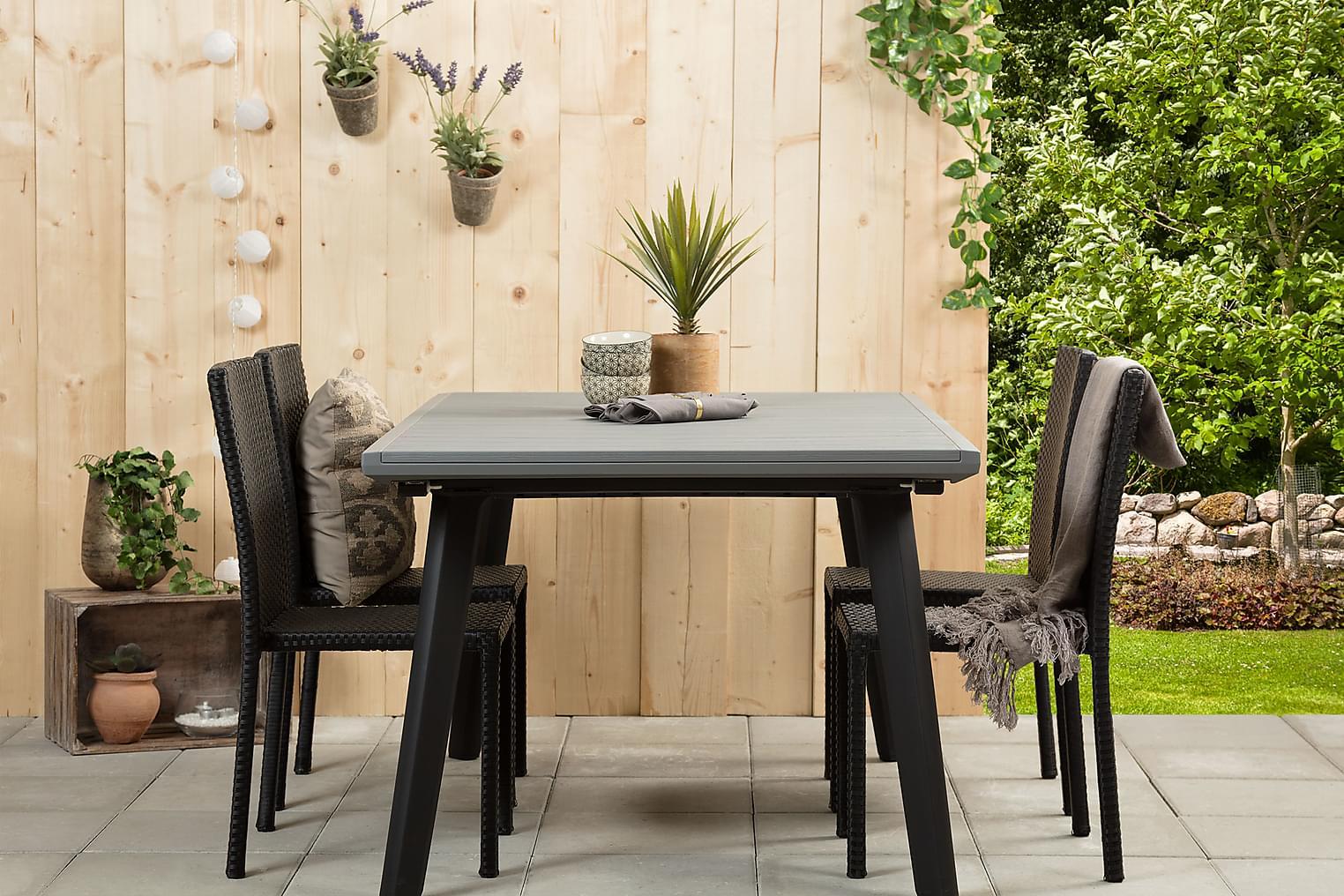 BILBAO Pöytä 162 Harmaa/Musta + 4 JULITA Tuolia Musta