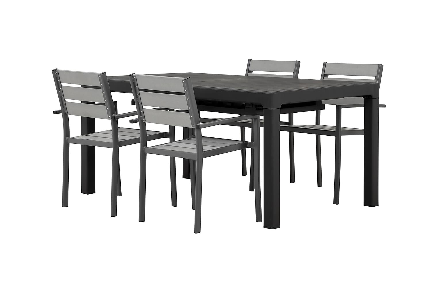 CAYMAN Pöytä 162 Musta + 4 ARRIETA Pinottavaa tuolia Harmaa