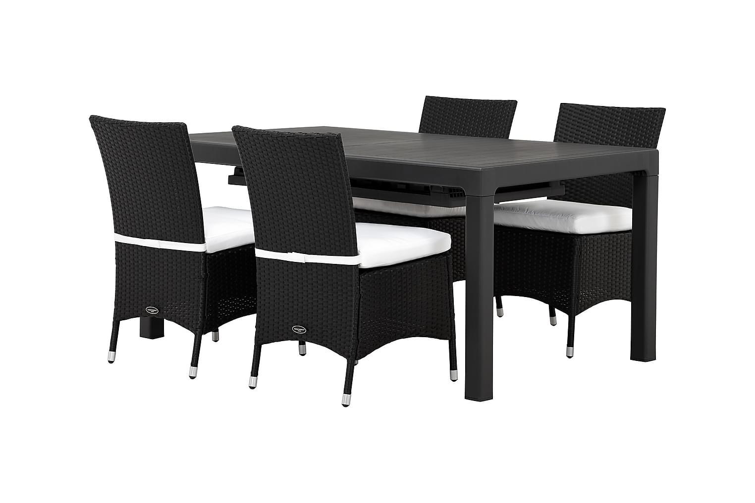 CAYMAN Pöytä 162 Musta + 4 ARUBA Tuolia Must/Valkoinen