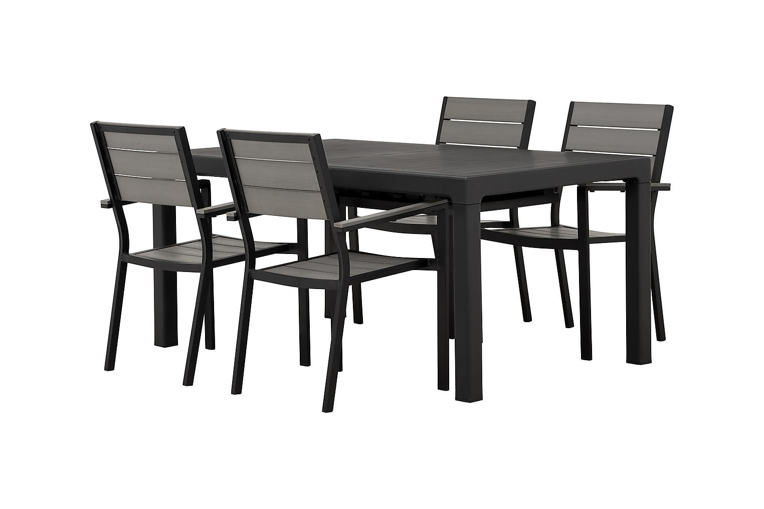 CAYMAN Pöytä 162 Musta + 4 LAPAZ Pinottavaa tuolia Musta/Har