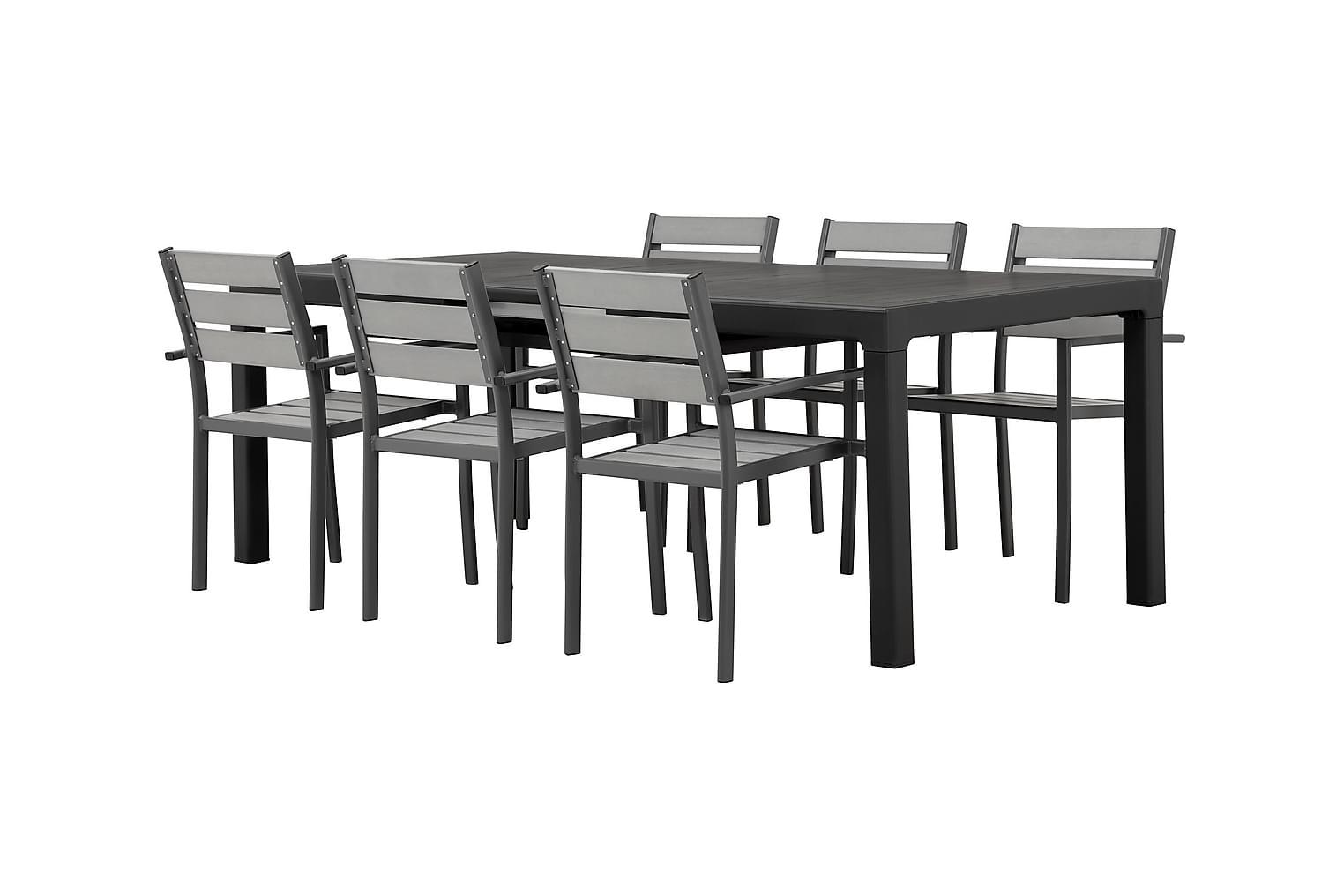 CAYMAN Pöytä 162 Musta + 6 ARRIETA Pinottavaa tuolia Harmaa