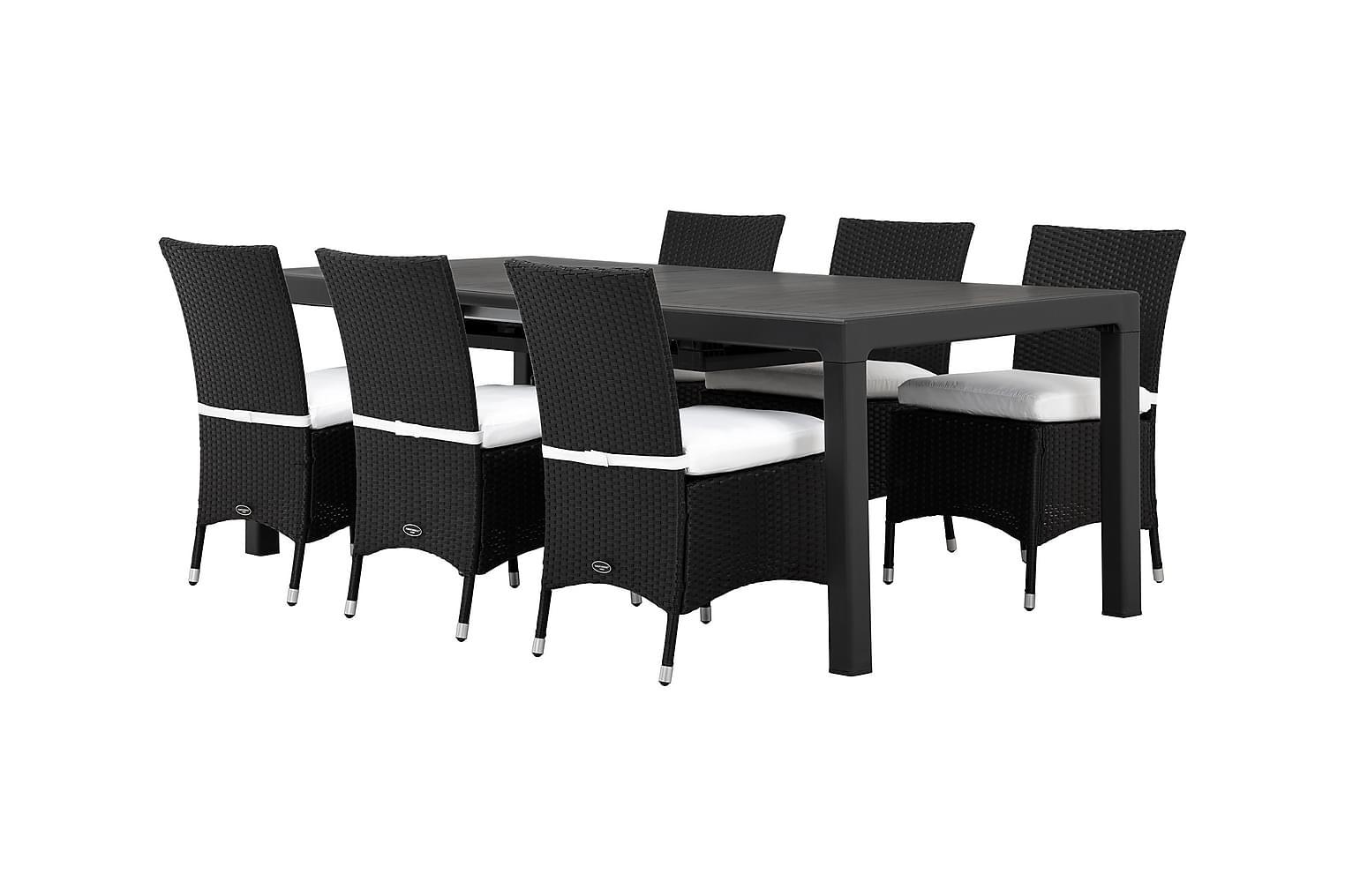 CAYMAN Pöytä 162 Musta + 6 ARUBA Tuolia Musta/Valkoinen