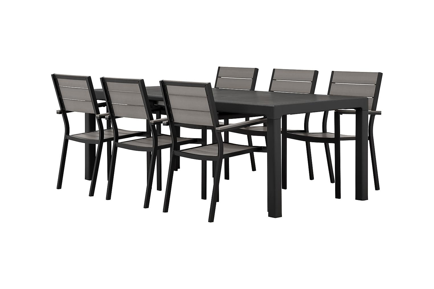 CAYMAN Pöytä 162 Musta + 6 LAPAZ Pinottavaa tuolia Musta/Har