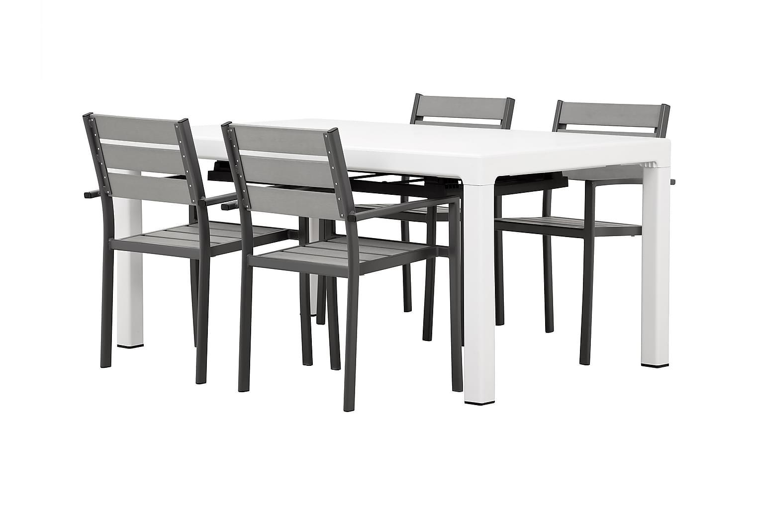 CAYMAN Pöytä 162 Valkoinen + 4 ARRIETA Pinottavaa tuolia Har