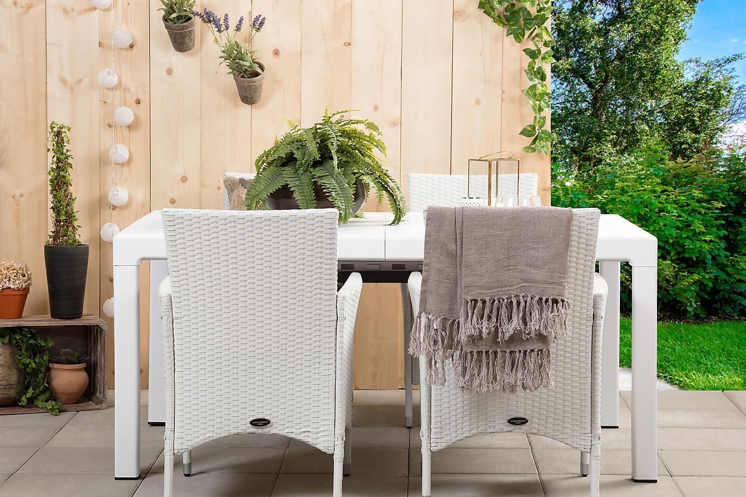 CAYMAN Pöytä 162 Valkoinen + 4 ARUBA Käsinojallista tuolia V