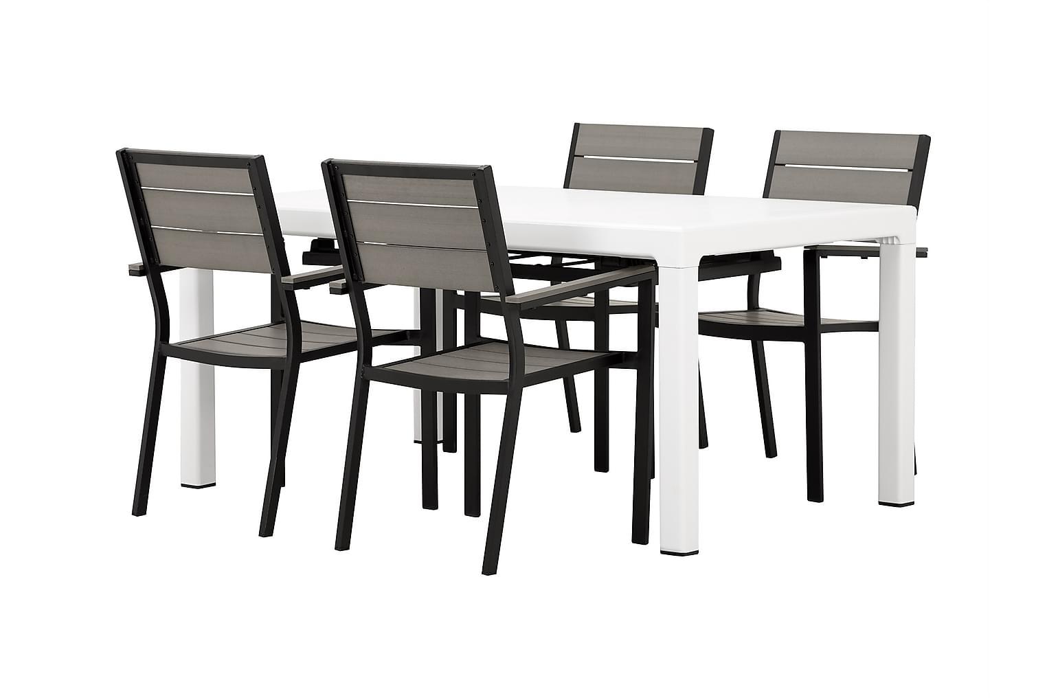 CAYMAN Pöytä 162 Valkoinen + 4 LAPAZ Pinottavaa tuolia Musta