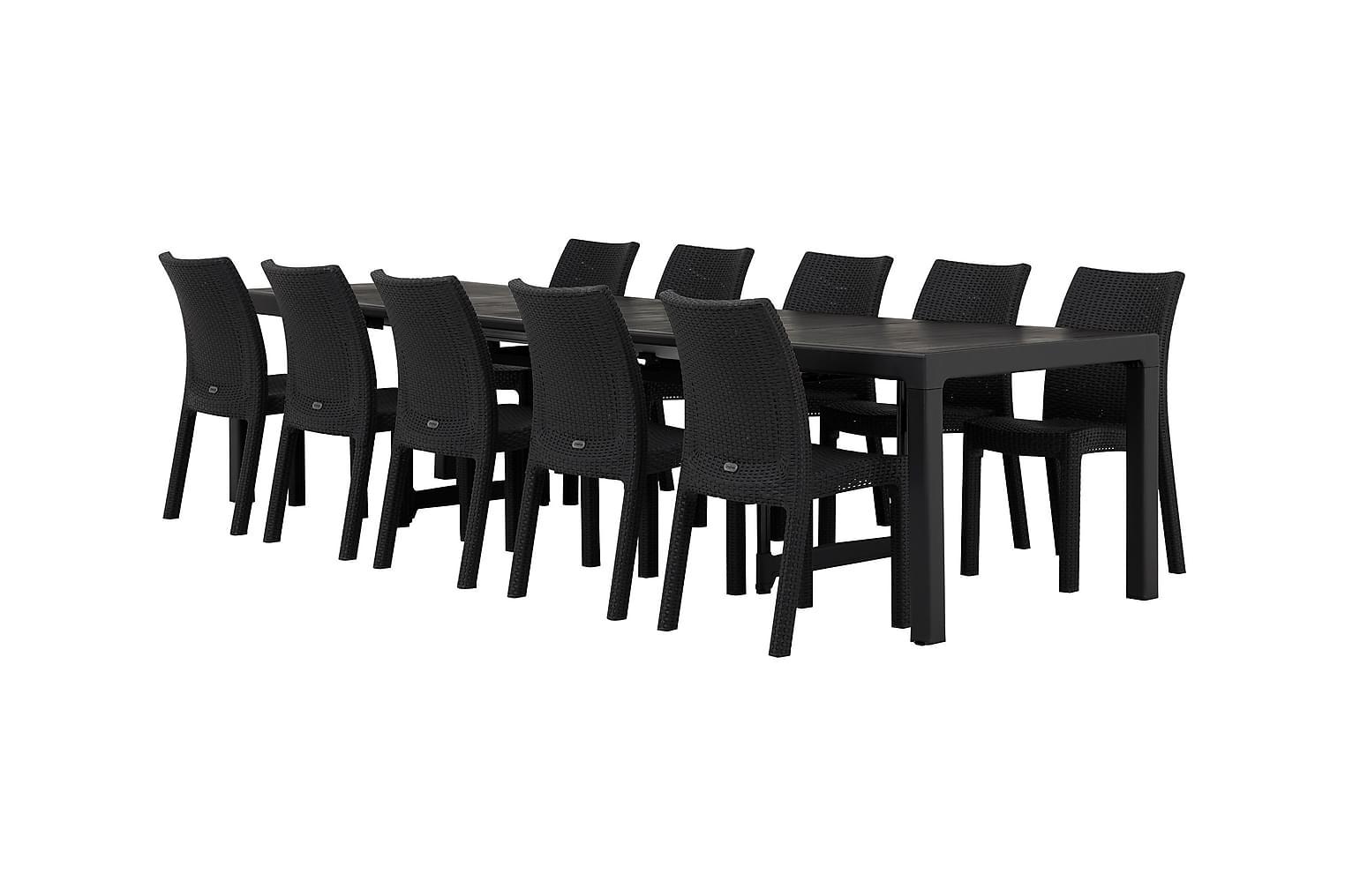 CAYMAN Pöytä Musta + 10 DREW Pinottavaa tuolia Musta