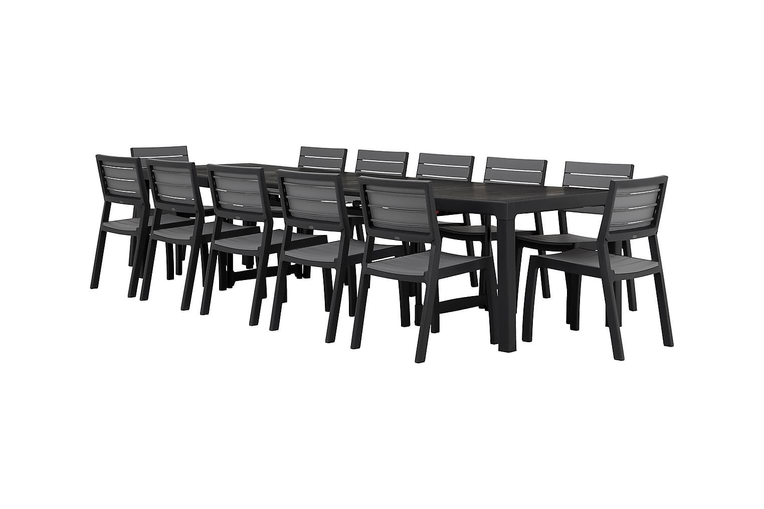 CAYMAN Pöytä Musta + 12 BILBAO Pinottavaa tuolia Harmaa/Must