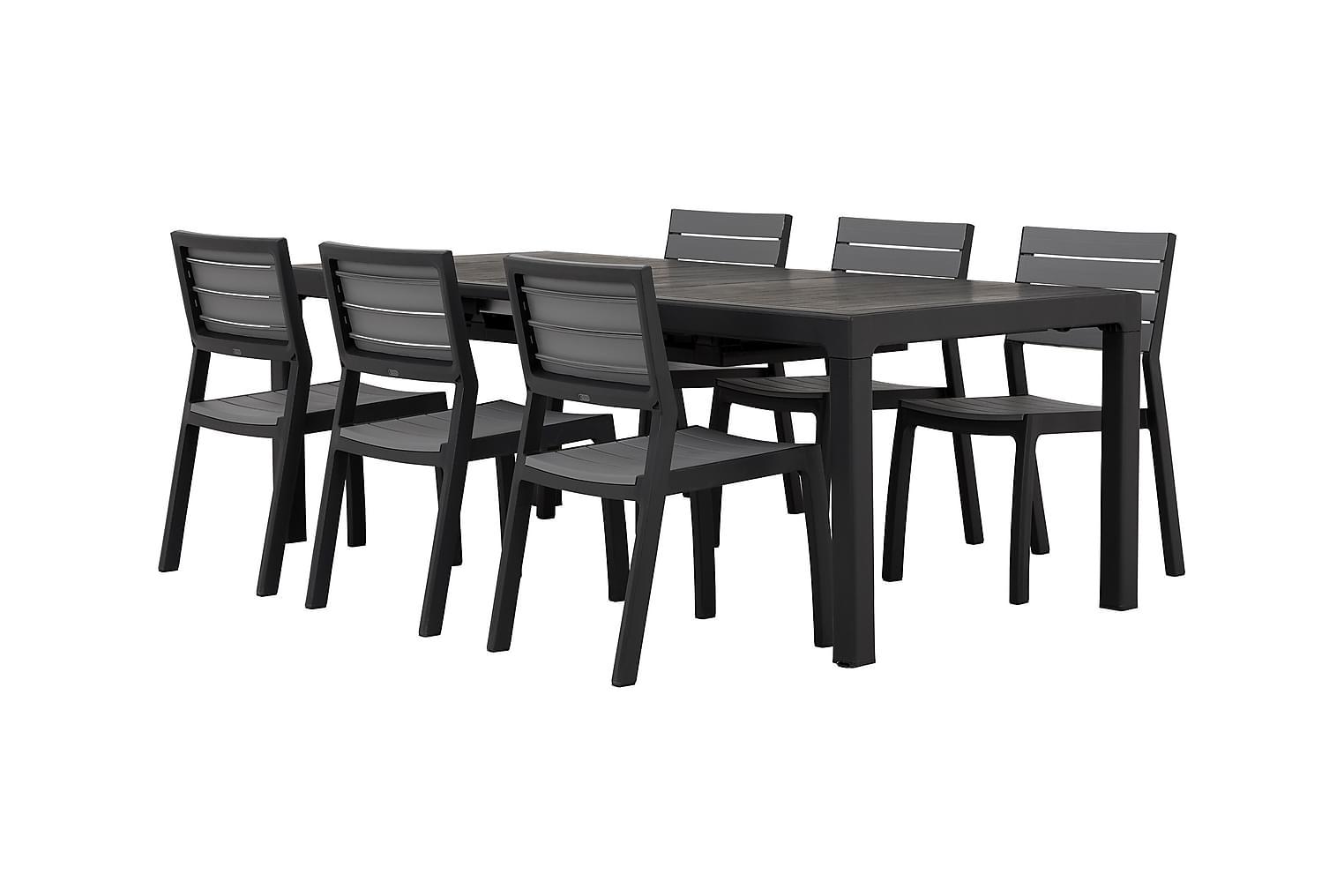 CAYMAN Pöytä Musta + 6 BILBAO Pinottavaa tuolia Harmaa/Musta