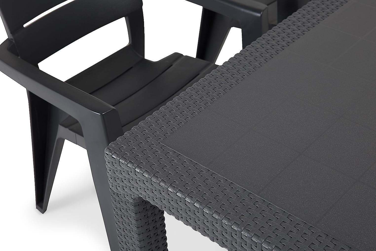 FARGO Pöytä 160 + 4 KIANA Tuolia Grafiitti