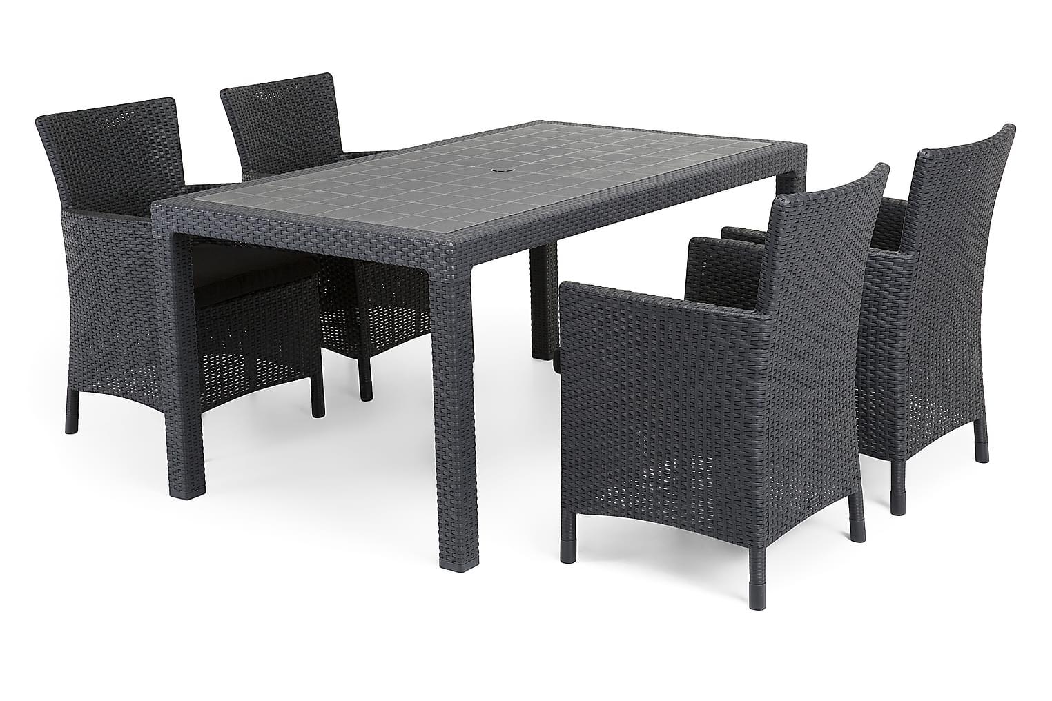 FARGO Pöytä 160 + 4 YORKTON Nojatuolia