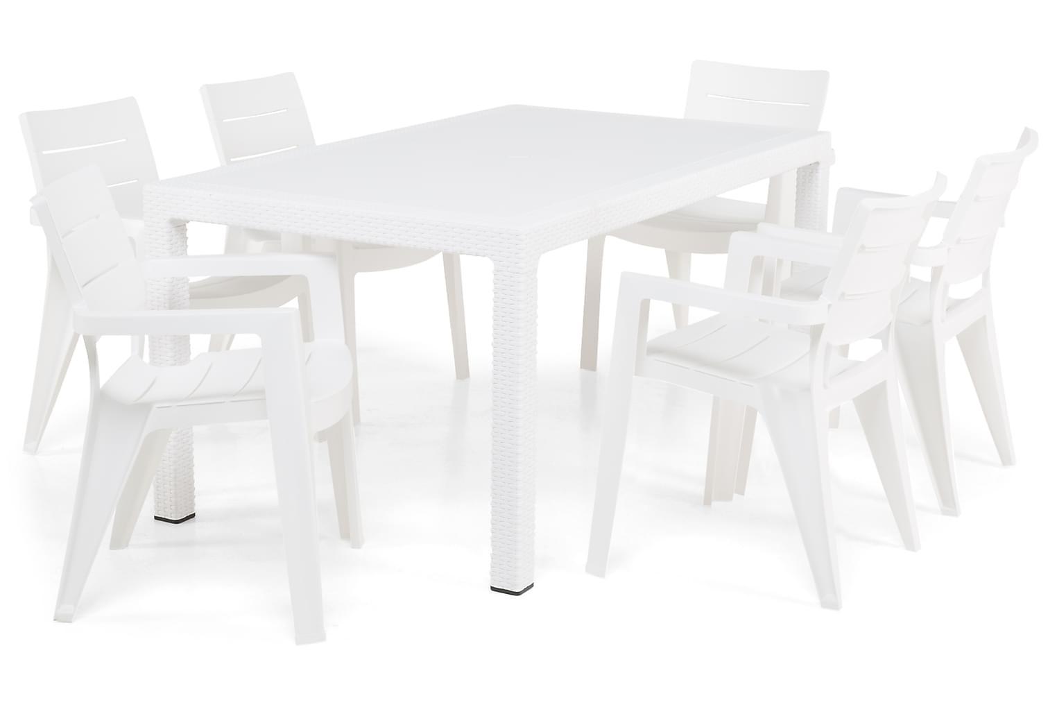FARGO Pöytä 160 + 6 KIANA Tuolia Valkoinen