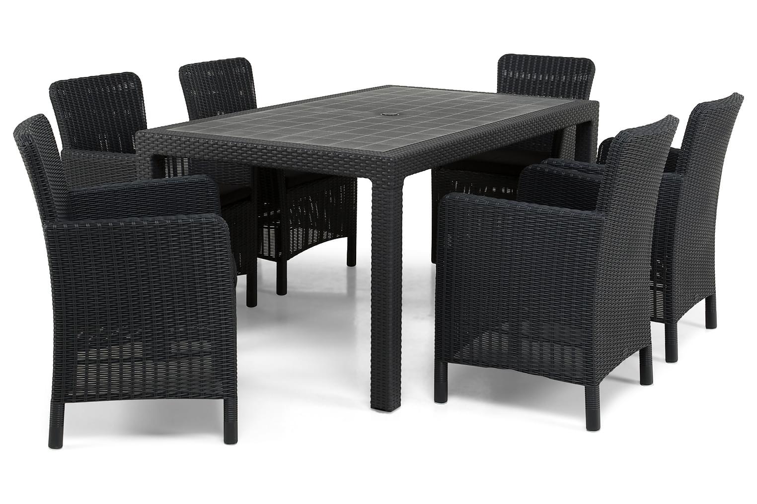 FARGO Pöytä 160 Antrasiitti + 6 CALVER Nojatuolia Musta