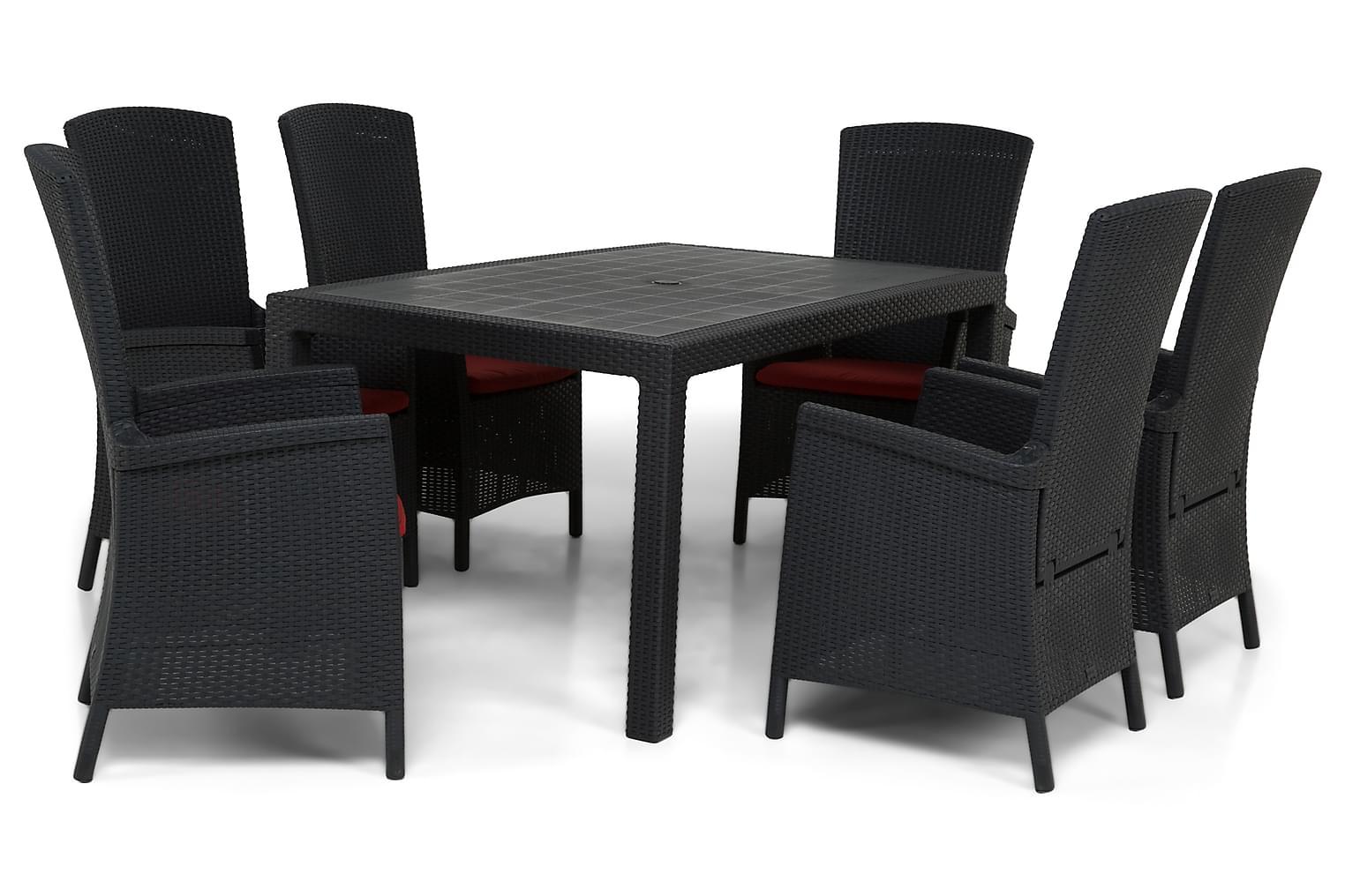 FARGO Pöytä 160 Antrasiitti + 6 VERAZZI Nojatuolia Musta