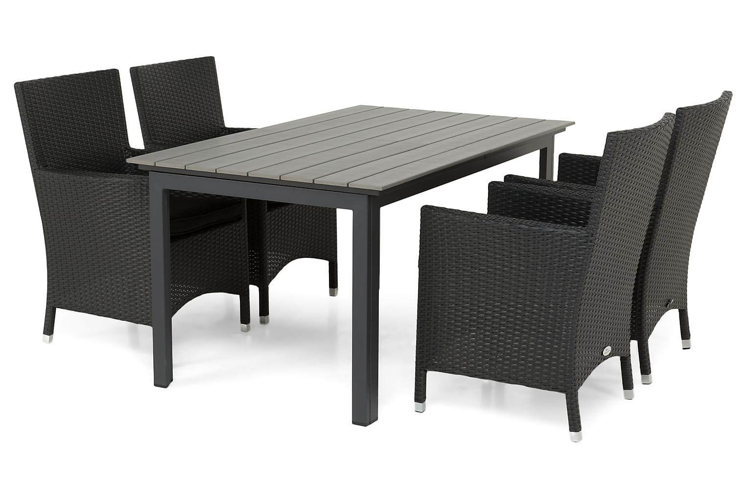 IDAHO Pöytä 150-210 + 4 TUR Lyx Nojatuolia Musta