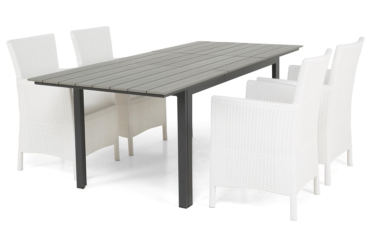 IDAHO Pöytä 150-210 + 4 YORKTON Nojatuolia Musta