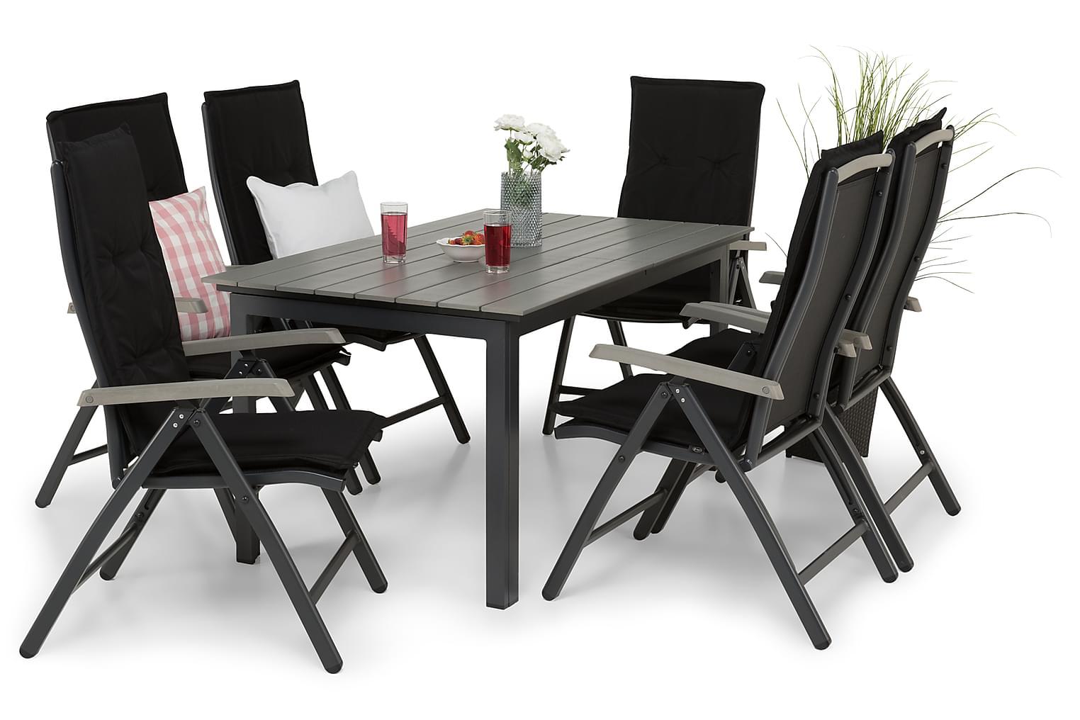 IDAHO Pöytä 150-210 + 6 PUEBLO Tuolia Harmaa/Musta