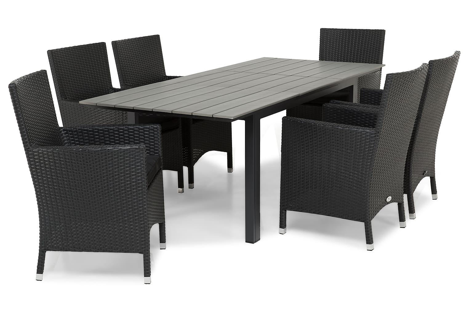 IDAHO Pöytä 150-210 + 6 TUR Lyx Nojatuolia Musta
