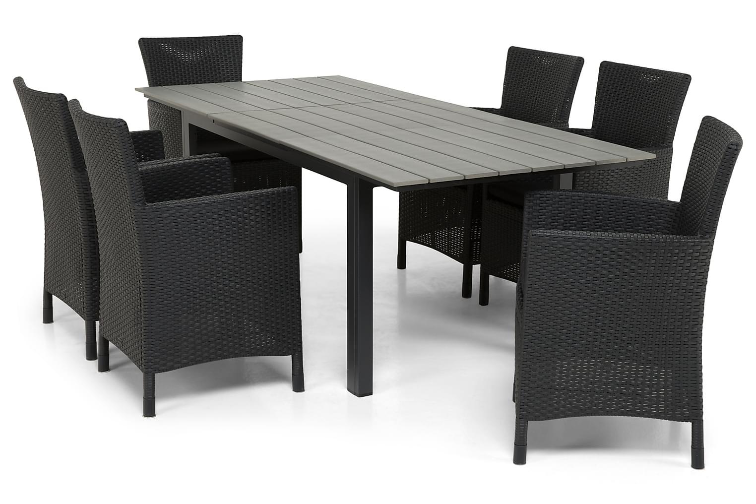 IDAHO Pöytä 150-210 + 6 YORKTON Musta Nojatuolia