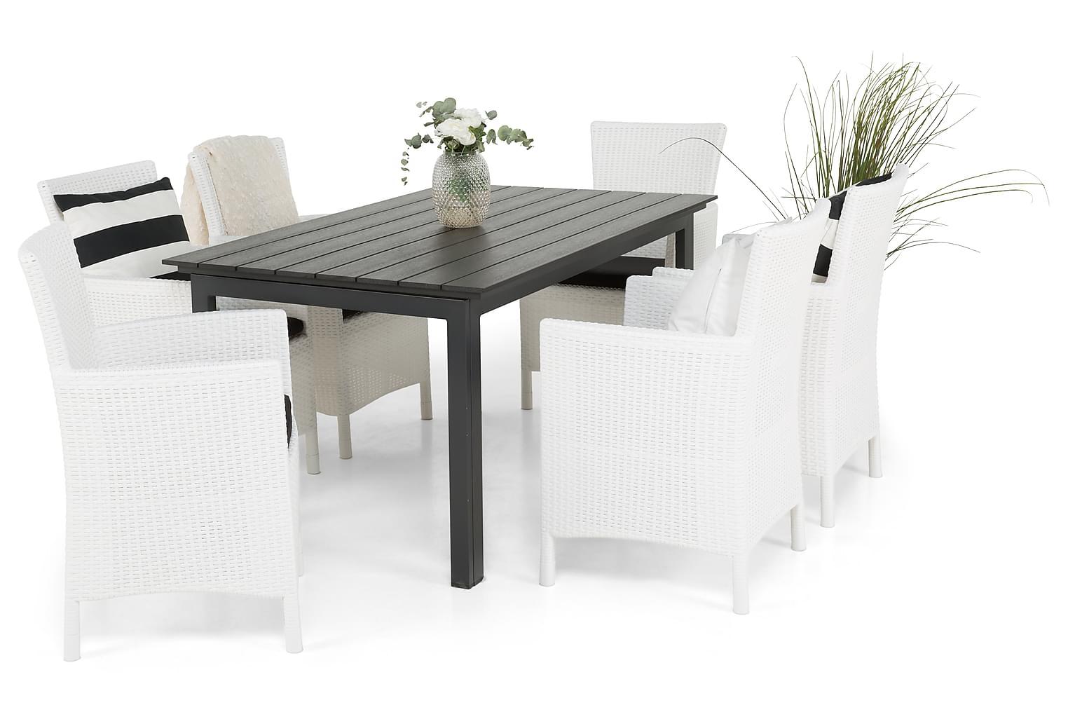 IDAHO Pöytä 150-210 + 6 YORKTON Valkoinen Nojatuolia