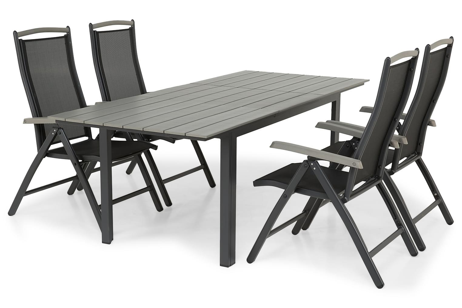 IDAHO Pöytä 150-210 Harmaa/Musta + 4 PUEBLO Tuolia Musta