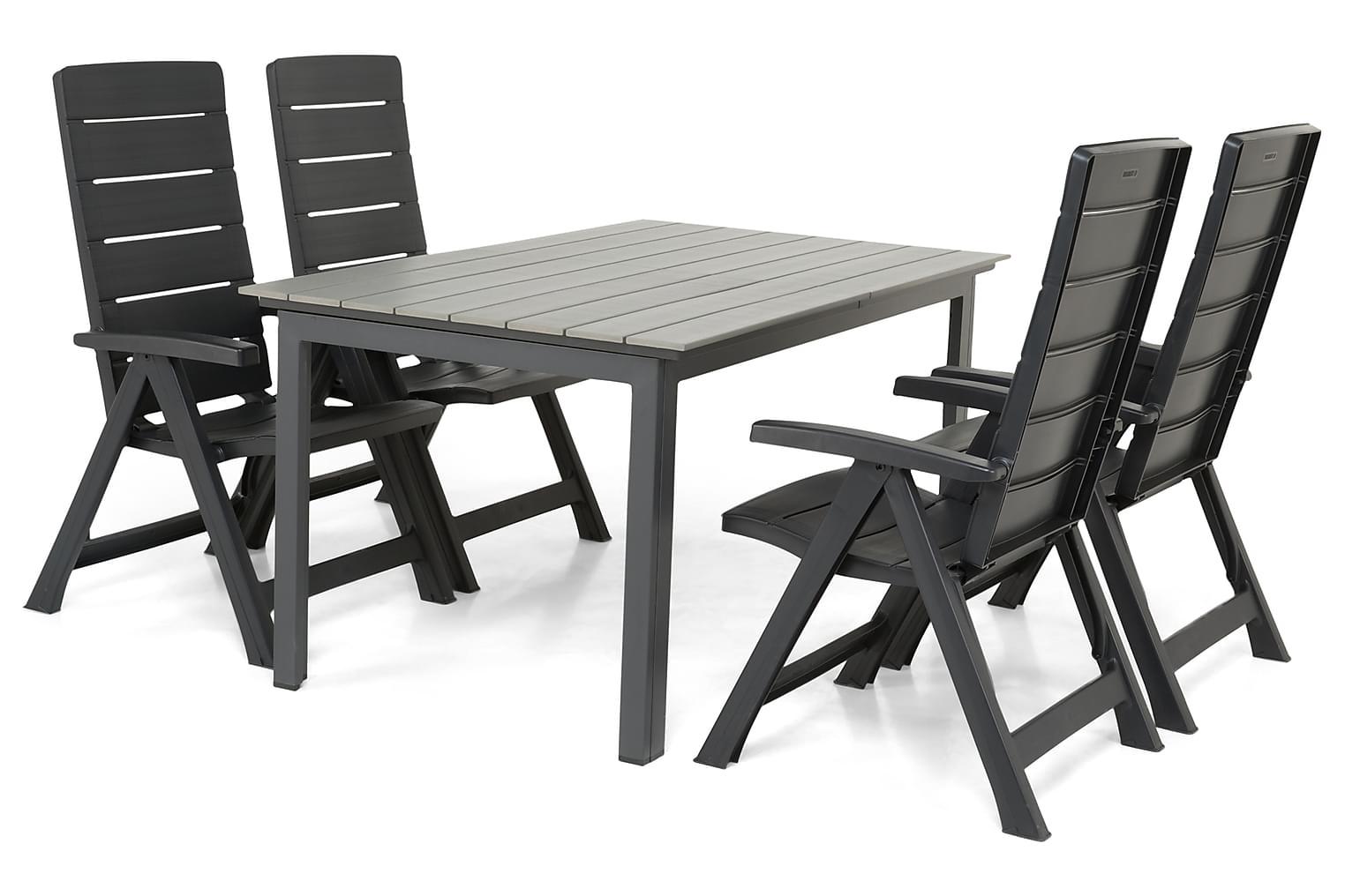 IDAHO Pöytä 150-210 Harmaa/Musta + 4 TOWNSVILLE Grafiitti