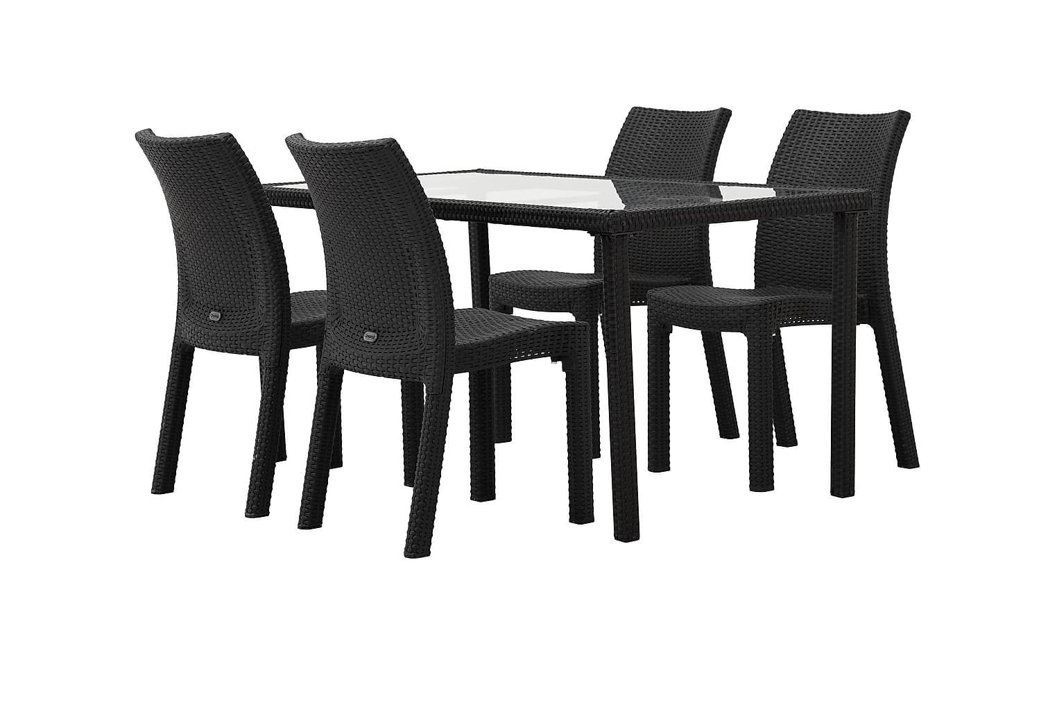 JULITA Pöytä 150 + 4 DREW Tuolia Musta