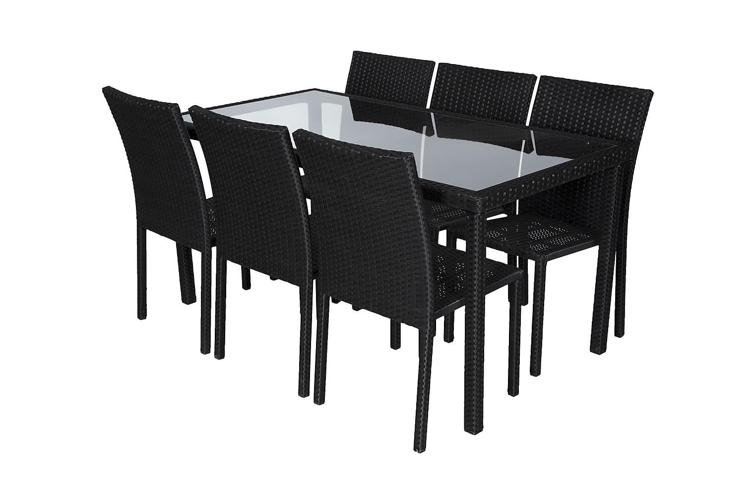 JULITA Pöytä 150 + 6 tuolia Musta