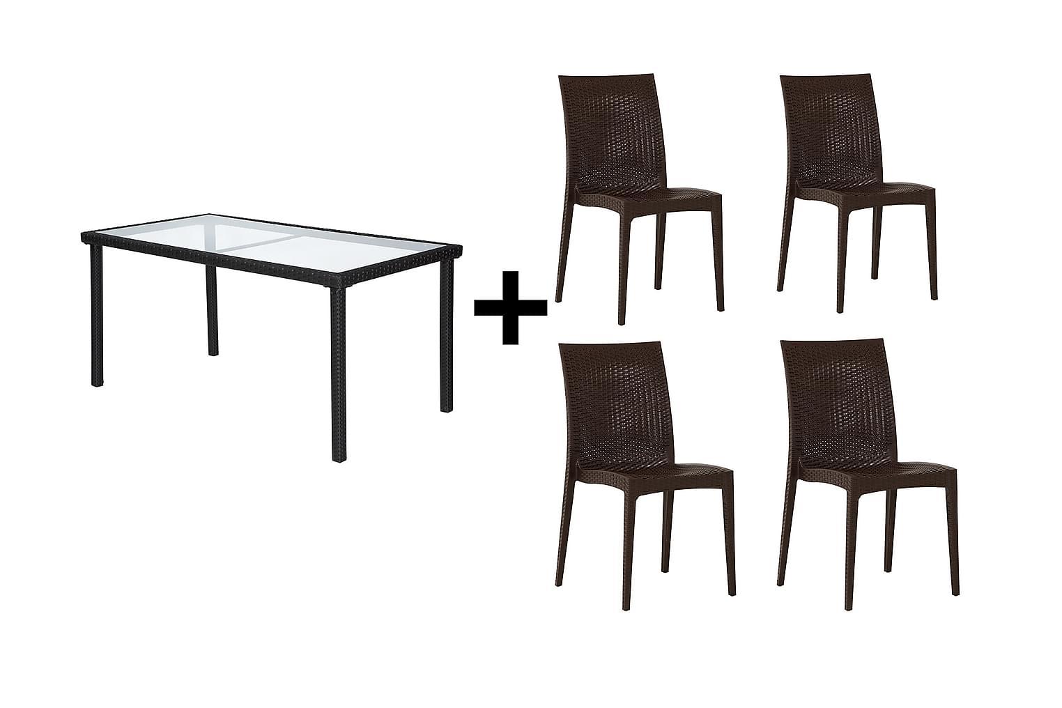 JULITA Pöytä 150 Musta + 4 LEORA Tuolia Ruskea