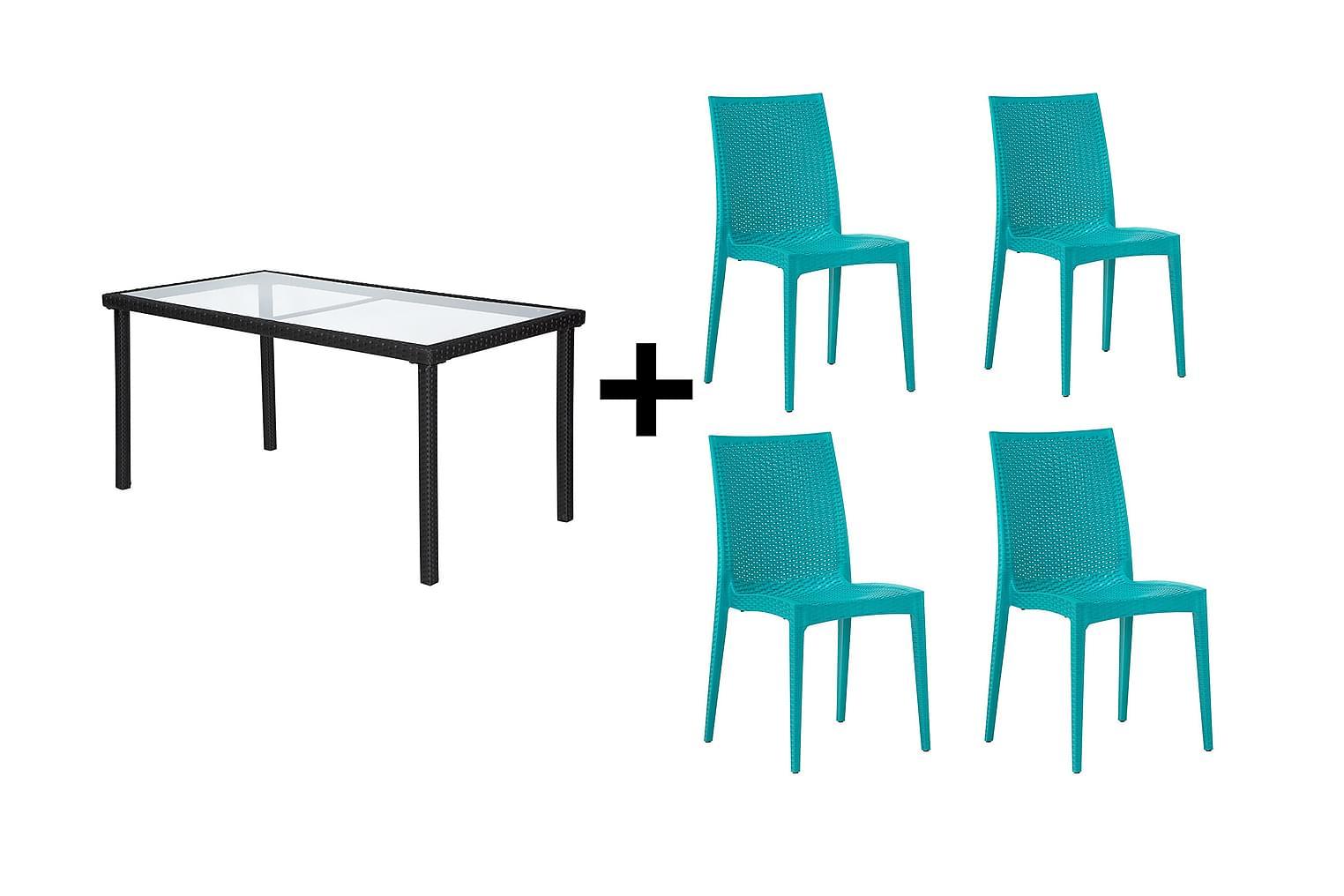 JULITA Pöytä 150 Musta + 4 LEORA Tuolia Turkoosi