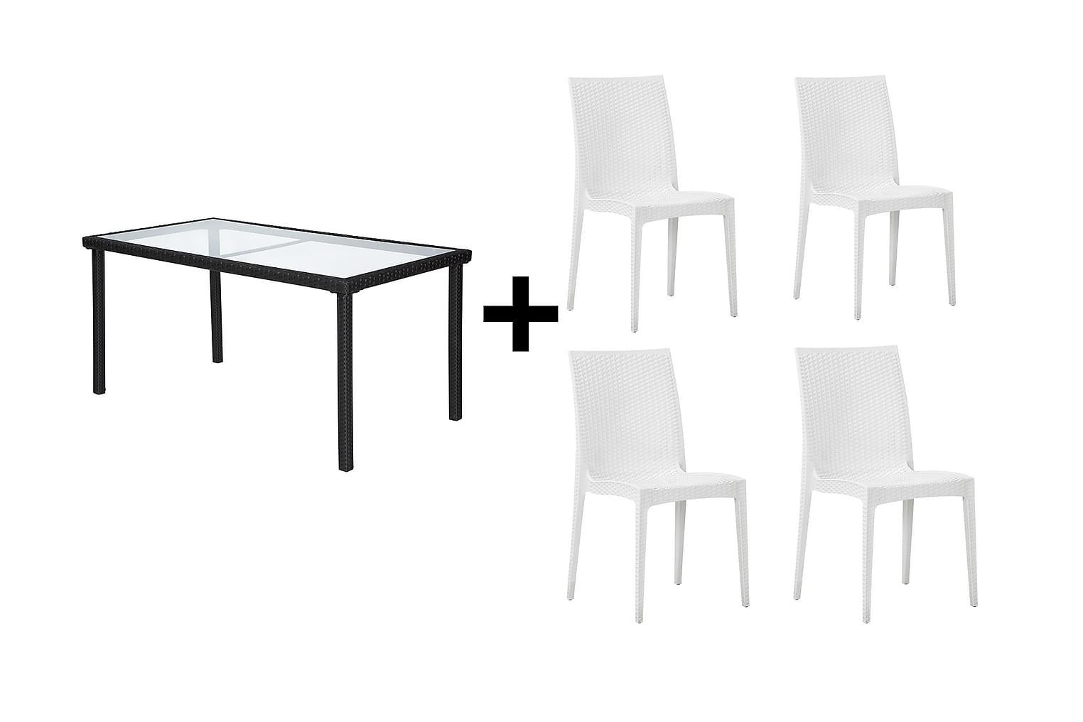 JULITA Pöytä 150 Musta + 4 LEORA Tuolia Valkoinen