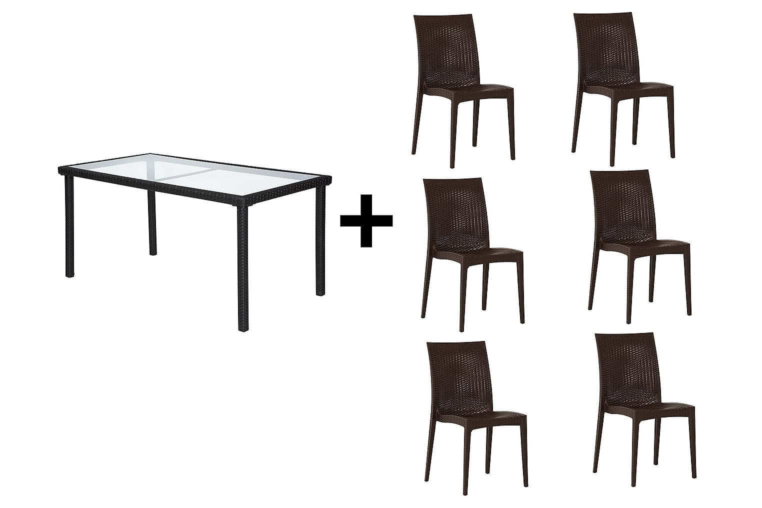 JULITA Pöytä 150 Musta + 6 LEORA Tuolia Ruskea
