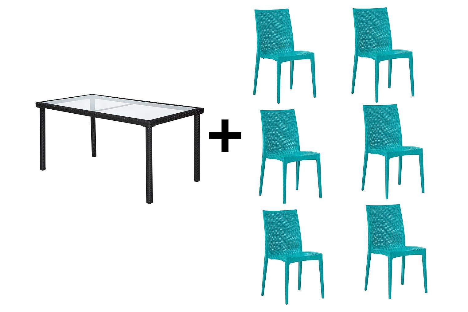 JULITA Pöytä 150 Musta + 6 LEORA Tuolia Turkoosi