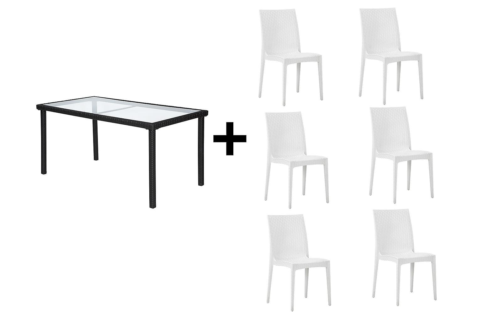JULITA Pöytä 150 Musta + 6 LEORA Tuolia Valkoinen