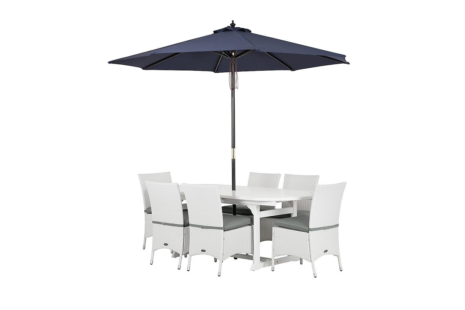LAMBERT 150 + 6 ARUBA Tuolia Valkoinen + Aurinkovarjo Tumman