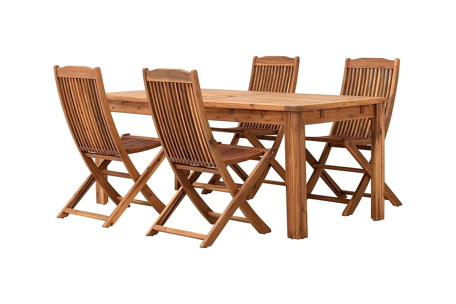 LAMBERT Klaffipöytä 180 + 4 Taittotuolia Luonnonväri