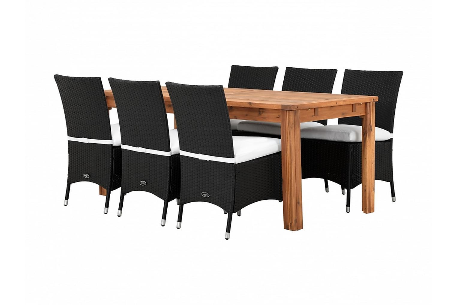LAMBERT Klaffipöytä 180 Luonnonvärinen 6 ARUBA Tuolia Musta/