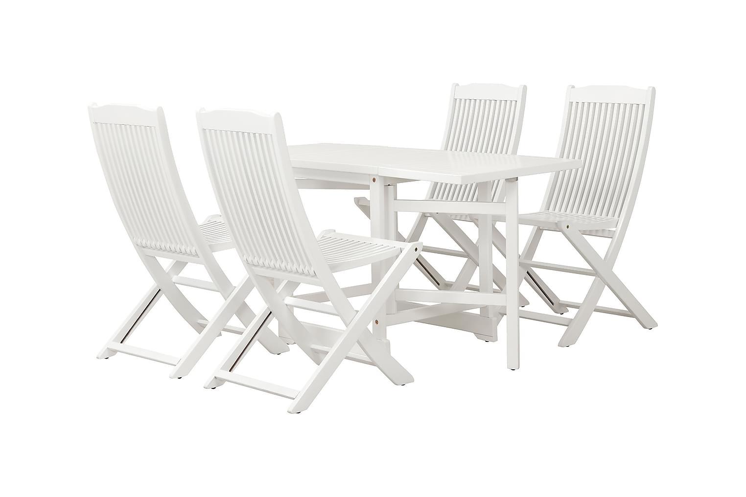 LAMBERT Kokoontaitettava pöytä 140 + 4 Taittotuolia Valkoine