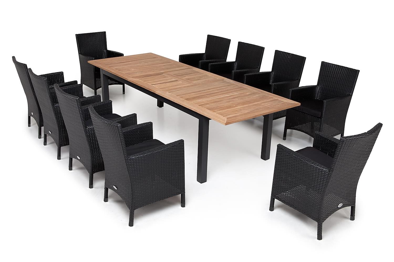 LORETO Pöytä 220/280 + 6 Nojatuolia Musta