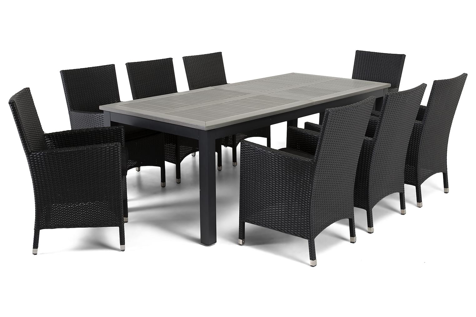 MARTINIQUE Pöytä 220/280 Harmaa + 8 TUR Nojatuolia Musta