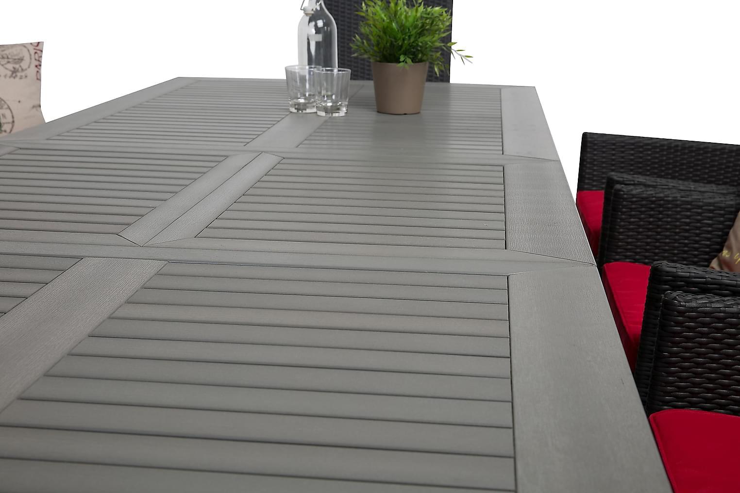 MONACO Pöytä 220 Harmaa/musta + 10 JENNIE tuolia Musta