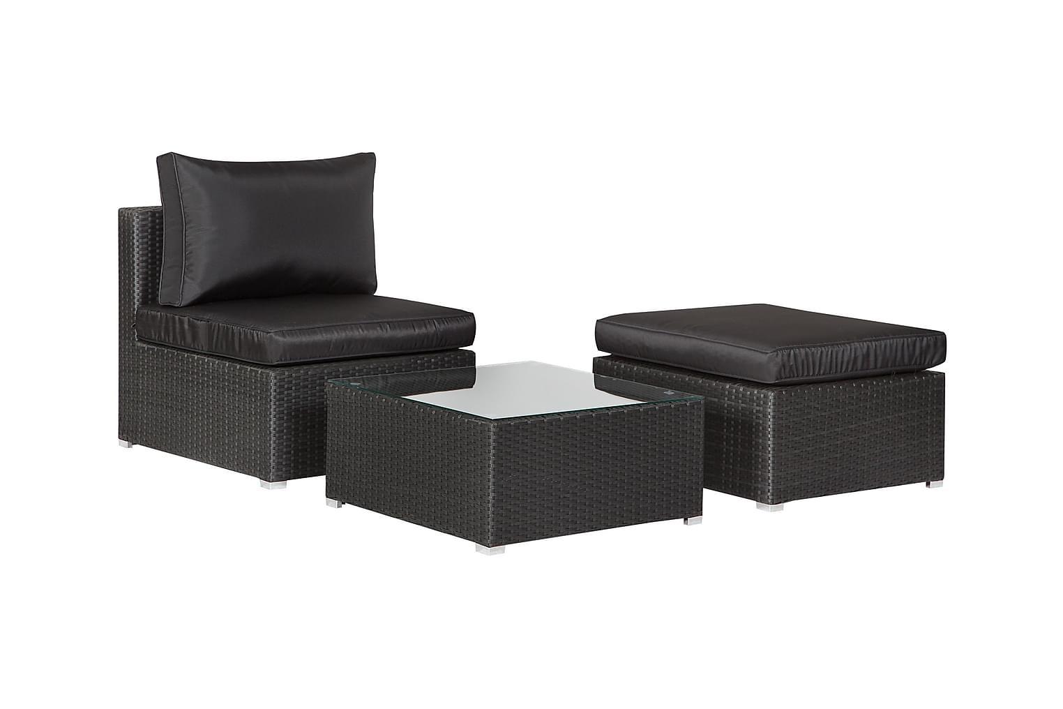 PRINCESS Keskimoduuli + Rahi + Pöytä Musta/Musta