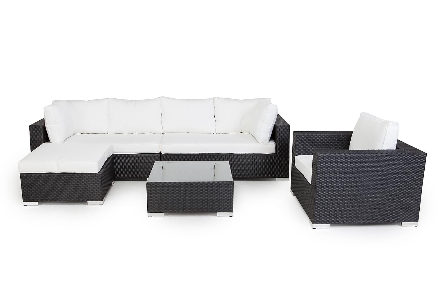 DOMINICA Sohva 4:n ist+Divaani+Pöytä+Tuoli Musta